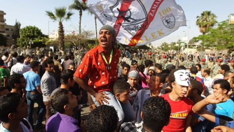 Egyptians protest the interim military leadership outside the Defense Ministry in Cairo.