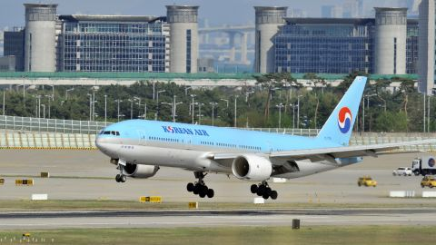South Korea's Korean Air plane makes a landing at Incheon international airport, west of Seoul, on May 2, 2012. Electronic jamming signals from North Korea have affected scores of civilian flights in and out of South Korea, a Seoul official said, amid rising tensions with Pyongyang. GPS disruption was noticeable around Incheon airport, the South's main international gateway