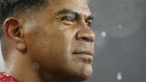 OXBORO, MA - OCTOBER 18: Junior Seau #55 of the New England Patriots looks on from the bench in the second half against the Tennessee Titans on October 18, 2009 at Gillette Stadium in Foxboro, Massachusetts.