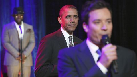 """President Barack Obama joins """"Late Night"""" host Jimmy Fallon and The Roots to """"slow jam"""" the news on April 24 at the University of North Carolina at Chapel Hill."""