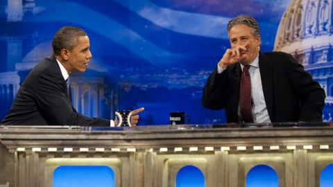 """Obama spars with Jon Stewart on """"The Daily Show"""" on October 26, 2010. He was the first sitting president to appear on the satirical television show."""