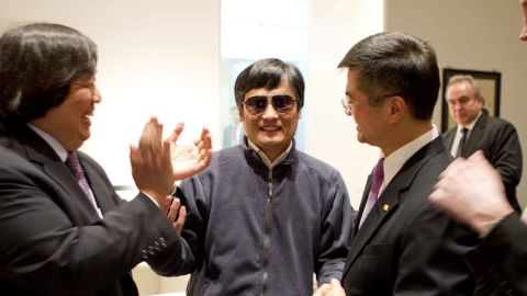 Chinese activist Chen Guangcheng at the U.S. Embassy in Beijing, with Ambassador to China Gary Locke, right, earlier this month