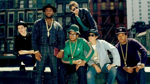 The Beastie Boys are shown here with fellow rap pioneer group Run-DMC in 2001.