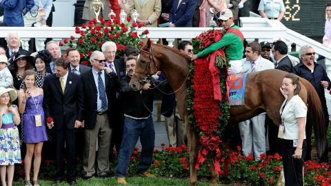 """Last year's champions -- jockey John Valazquez atop  Animal Kingdom -- celebrate winning the  137th Kentucky Derby. The race is known as the """"Run for the Roses,"""" after the garland of flowers draped on the winner."""