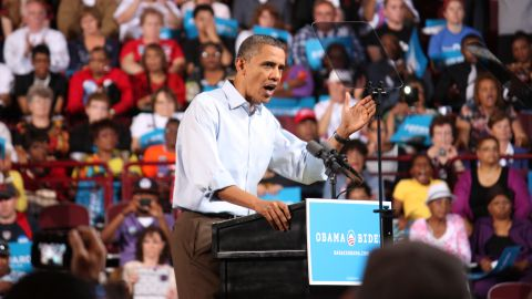 President Barack Obama and First Lady Michelle Obama hold the first official rally of their 2012 reelection campaign at The Ohio State University in Columbus, OH