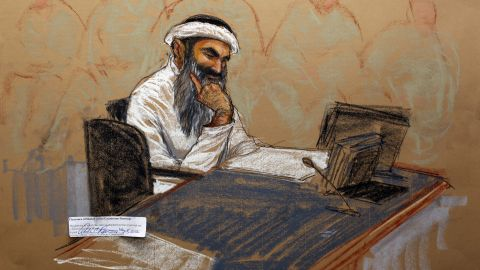 In this courtroom drawing, Khalid Sheikh Mohammed sits in court at the US Naval Base in Guantanamo Bay, Cuba.