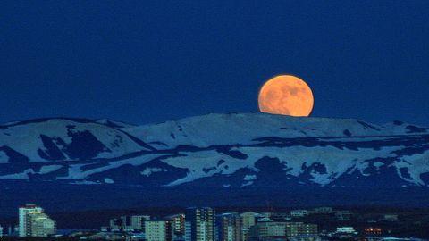 "CNN iReporter Halldor Sigurdsson captured this photo of the ""super moon"" of 2012 over Reykjavik, Iceland."