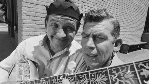 """George Lindsey, left, poses with Andy Griffith for a photo during the taping of """"The Darling Fortune,"""" an October 1966 episode of """"The Andy Griffith Show."""" Lindsey's character joined the hit sitcom in 1964."""