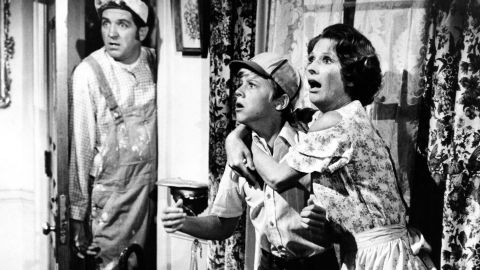 """Lindsey, left, Vince Van Patten and Cloris Leachman perform in a scene from the movie """"Charley And The Angel,"""" which was released in 1973."""