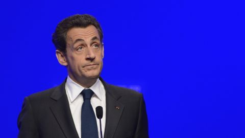 Nicolas Sarkozy adresses his supporters after the second round results of the French presidential election in Paris.