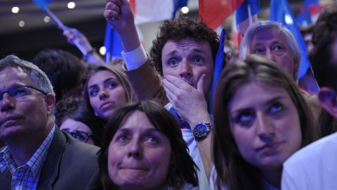 Sarkozy supporters react as results from exit polls and official tallies in the runoff election come in.