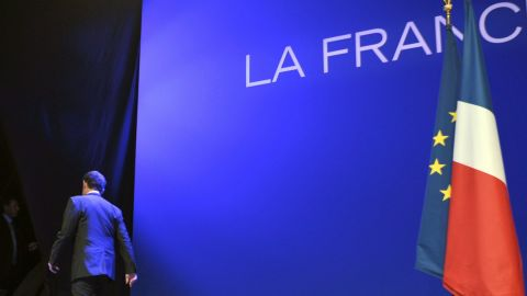 Sarkozy leaves the stage after his concession speech on Sunday. He was elected president of France in 2007.