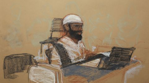 A courtroom drawing shows Mustafa al Hawsawi at his arraignment on May 5 at the U.S. Naval Base in Guantanamo Bay, Cuba.