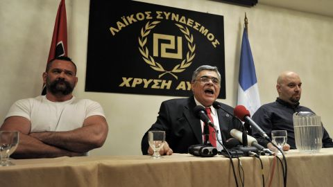 Leader of the far-right party 'Golden Dawn', Nikolaos Michaloliakos speaks during a press conference in Athens on May 6.