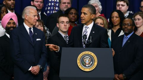 President  Obama, shown at a February event, hasn't backed Vice President Joseph Biden's support of same-sex marriage.