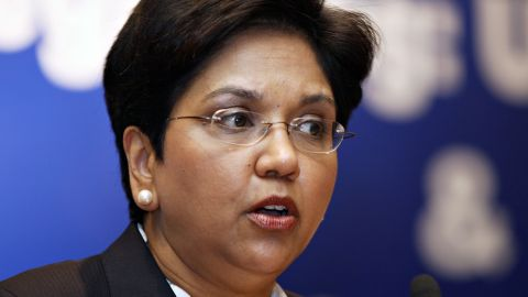 Indra Nooyi sits at the helm of Pepsico, the 43rd-largest company in America, according to Fortune. Nooyi has overseen a shift in focus from soft drinks into less-profitable, but healthier, snack-food markets in recent years.