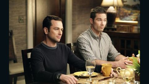 """On """"Brothers and Sisters,"""" which aired on ABC from 2006 to 2011, Kevin Walker (Matthew Rhys, left) proposed to Scotty Wandell (Luke Macfarlane). The pair had two children, Olivia and Daniel."""