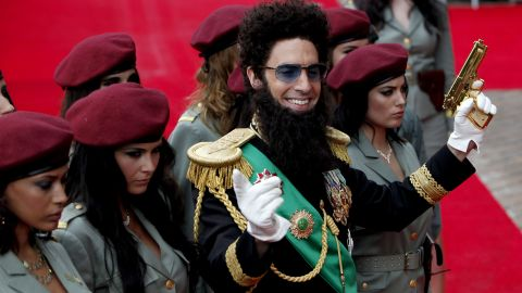 """Sacha Cohen arrives in London for the UK premiere of """"The Dictator."""" Obeidallah says Cohen uses the worst Arab stereotypes."""