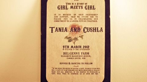 """Guests were invited to the event with the words """"this is a story of girl meets girl"""" typed in a retro font to fit their theme. <a href=""""http://twobirdsnest.com/"""" target=""""_blank"""" target=""""_blank"""">Twobirdsnest.com</a>"""