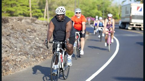 Glenn Keller Sr., a truck driver and pastor from Burleson, Texas, leads the pack of 2012 Fit Nation Triathlon Challenge participants near Mauna Lani Bay.