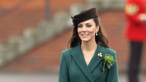 """Kate donned a belted emerald coat by Emilia Wickstead on St. Patrick's Day in Aldershot, England. She accessorized her ensemble with a gold shamrock brooch -- a royal heirloom, according to<a href=""""http://www.telegraph.co.uk/news/uknews/theroyalfamily/9150267/Duchess-of-Cambridge-presents-St-Patricks-Day-shamrock-to-Irish-Guards.html"""" target=""""_blank"""" target=""""_blank""""> The Telegraph.</a>"""