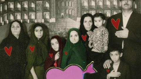 Iranian Babak Kazemi makes unusual and often surreal photographic collages. His work includes vintage-style sepia photographs superimposed with brightly colored images of Mickey and Minnie Mouse.