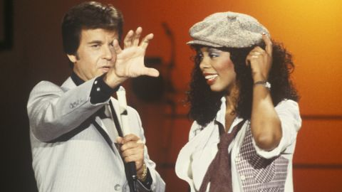 """Summer appears with Dick Clark on """"American Bandstand"""" in 1978."""
