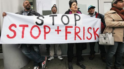 """Opponents of the New York Police Department's controversial """"stop-and-frisk"""" policy at a rally in January."""