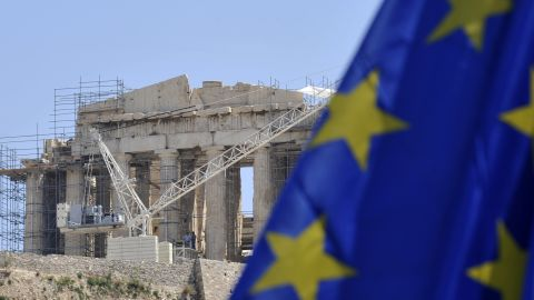 An EU flag flies in front of the Acropolis in Athens. A rerun of the Greek elections is scheduled for June 17.