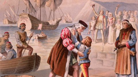 Columbus bids farewell to his son Diego at Palos, Spain, before embarking on his first voyage to find a passage to India by sailing west on August 3, 1492.