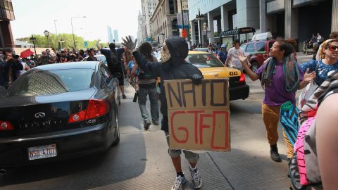 Protesters make their way through downtown Chicago in an impromptu demonstration.