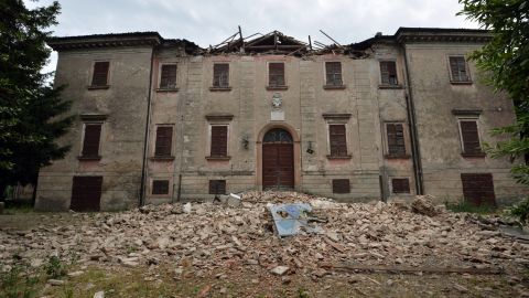 A building is left severely damaged in San Felice sul Panaro following the earthquake.