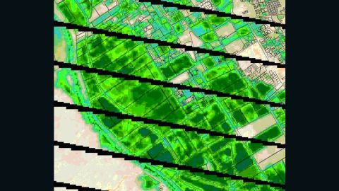 Thermal images of water use around Las Cruces, New Mexico, from the Landsat 7 satellite.