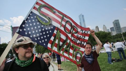 Protesters rally in Chicago on Sunday, May 20, the first day of the NATO summit. A week of demonstrations led up to the two-day meeting, which brought together the leaders of more than 50 nations.