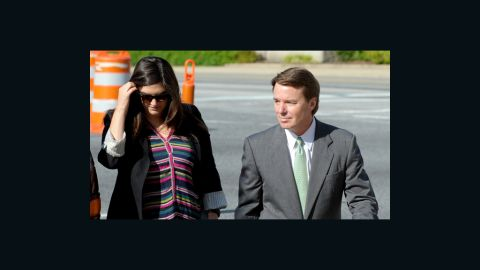 GREENSBORO, NC - MAY 17: Former U.S. Senator John Edwards (D-NC) arrives with is daughter, Cate Edwards, at the Federal Courthouse for closing statements in his trial on May 17, 2012 in Greensboro, North Carolina. Edwards, a former presidential candidate, plead not guilty to six counts of campaign finance violations and could face a maximum of 30 years in jail and $1.5 million in fines. (Photo by Sara D. Davis/Getty Images)