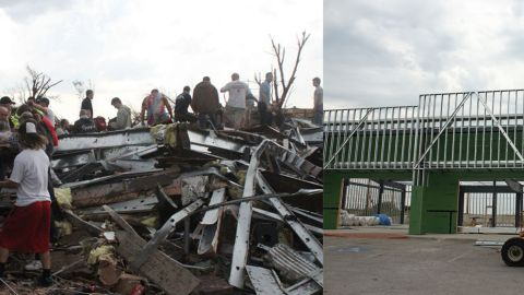 At left, rescuers search through the rubble on May 22, 2011, at what used to be an AT&T store on Rangeline Road. On the right, a new store is rising.