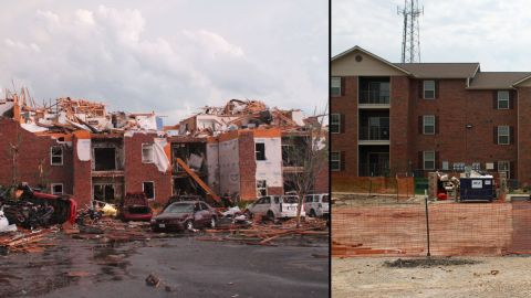 """When Deardorff visited this apartment building off 20th Street in the hours after the tornado, """"all the cars were just flipped over, and every smoke alarm in every one of those apartments was going off,"""" he said. A year later, the complex has been rebuilt."""