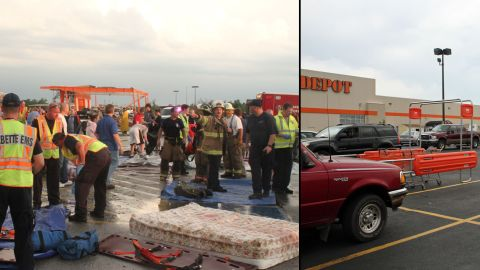 """The leveled Home Depot became a staging area for emergency workers. A new store opened in January. The site went from """"such a site of devastation and tragedy to a beautiful new store where people can show up and buy their new hammer,"""" <a href=""""http://ireport.cnn.com/people/gdeardorff"""">Grant Deardorff</a> said."""