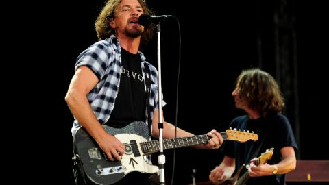 Eddie Vedder of Pearl Jam performs during day 1 of the Hard Rock Calling festival held in Hyde Park on June 25, 2010 in London, England