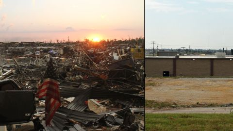 """Deardorff shot the photo on the left from behind the Aldi grocery store. A year later, the back of a new store is """"a ho-hum picture"""" but speaks volumes about how far the town has come, he said."""