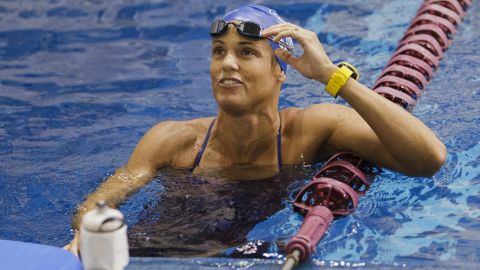 Dara Torres warms up before swimming at Texas A&M University on May 20, 2012 in College Station, Texas.