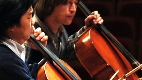 Principal cellist Oleg Vedernikov rehearses with the Beijing Symphony Orchestra in Beijing on March 13.