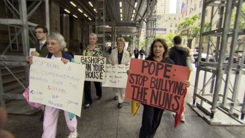 Protesters demonstrate at New York's St. Patrick's Cathedral against the Vatican's response to U.S. nuns' activism.