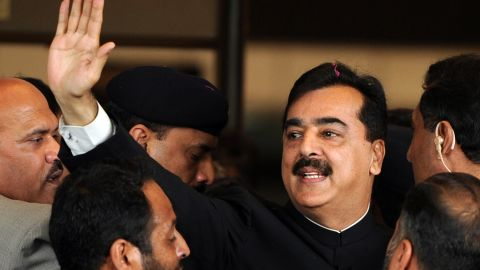 Pakistan's Prime Minister Yousuf Raza Gilani arrives at the Supreme Court building in Islamabad on April 26, 2012.