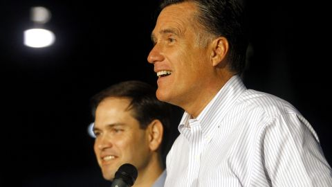 Mitt Romney has used Sen. Marco Rubio, a possible VP candidate, to attack President Obama on the campaign trail.