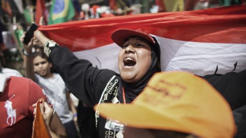 A supporter of presidential candidate Abdelmonen Abol Fotoh voices her opinions at Tahrir Square on Friday.