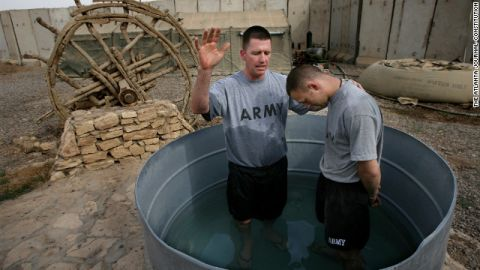 Army chaplain Darren Turner, left, wound up quitting the Army for a spell after returning home from Iraq.