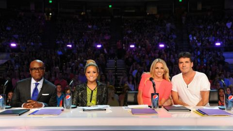 """L.A. Reid (far left), Demi Lovato, Britney Spears and Simon Cowell during a taping of """"The X Factor."""""""