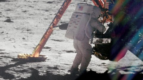 Neil Armstrong on the surface of the moon during the Apollo 11 district.