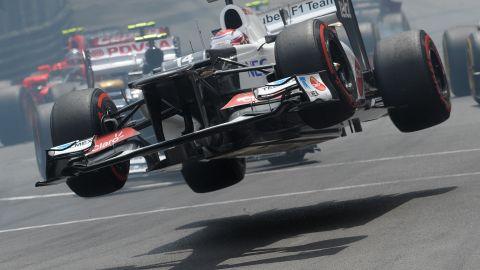 Kamui Kobayashi of the Sauber team goes airborne in spectacular fashion at the Monaco Grand Prix.